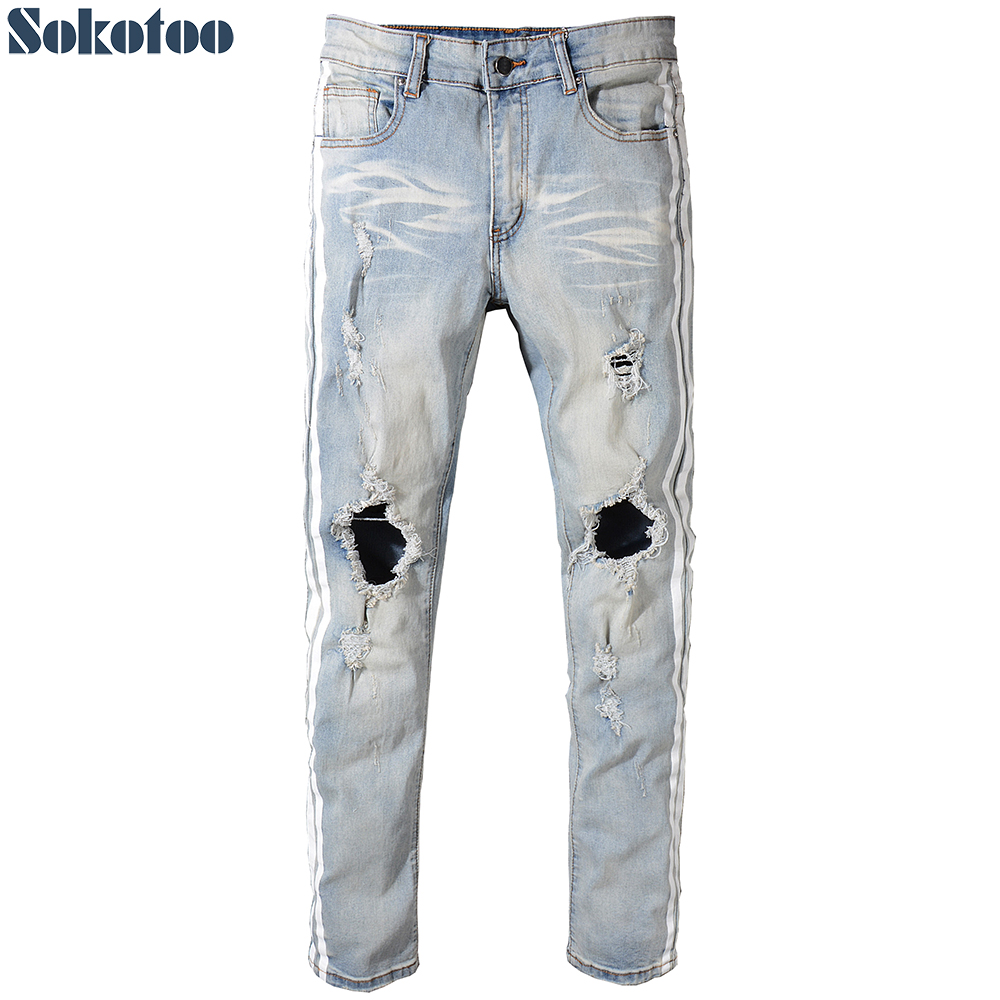 Sokotoo Mens vintage blue holes ripped stretch denim jeans Casual white stripe patchwork pants