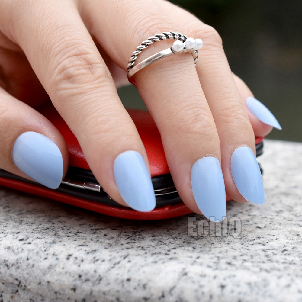 Shine False Oval Nails Candy Light Blue Acrylic Nail Tips ...