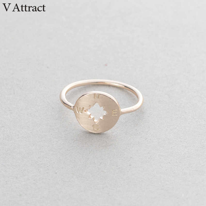 V Attract Punk Round Compass Knuckle Rings Vintage Jewelry Rose Gold Bijoux Silver Geometric Stackable Bague Bridesmaid Gift