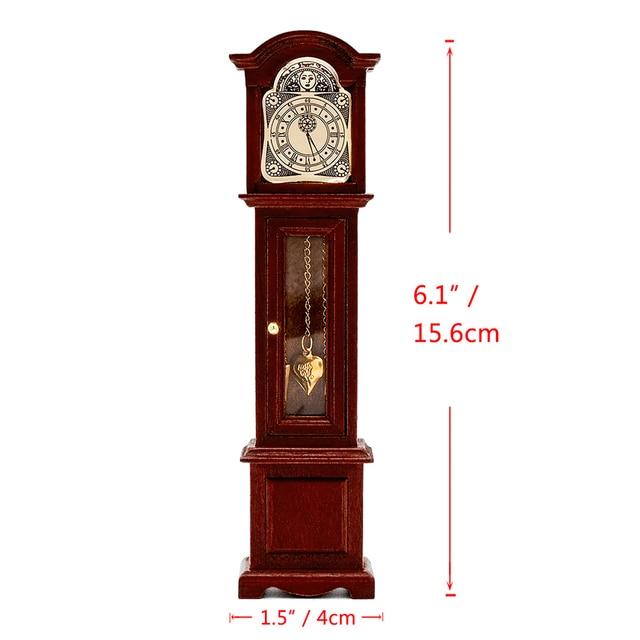 Odoria Miniature Furniture Vintage Grandfather Clock Floor Pendule For Dollhouse Accessories Livingroom