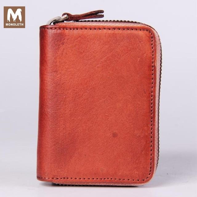MONOLETH  Brand 100% Genuine Leather  Vintage card holder Zipper Square Gift card Bag Photo Holde 12 card position W1011