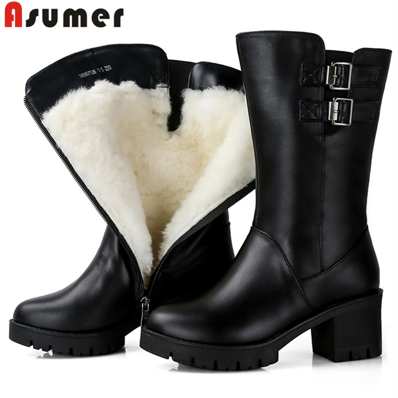 ASUMER 2020 fashion mid calf boots women round toe zip genuine leather boots square heel wool keep warm winter snow boots