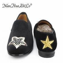 купить Men handmade embroidery rhinestone black velvet loafers with star wedding and party soft breathable men shoes дешево