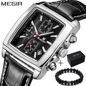 ba80af7bef10 Reloj de pulsera de cuarzo rectangular de cuero genuino de marca de lujo  Megir