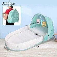 Складная детская кровать, переноска для путешествий, функции как сумка для подгузников и пеленальная станция, детская сумка, переноска для новорожденных, складная кроватка