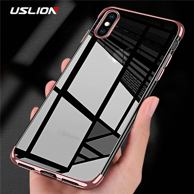 USLION Ultra Thin Silicone Phone Case For iPhone X 8 7 6 6s Clear Back Cover For iPhone 7 8 Plus 6 6s Plus Soft TPU Cases Coque