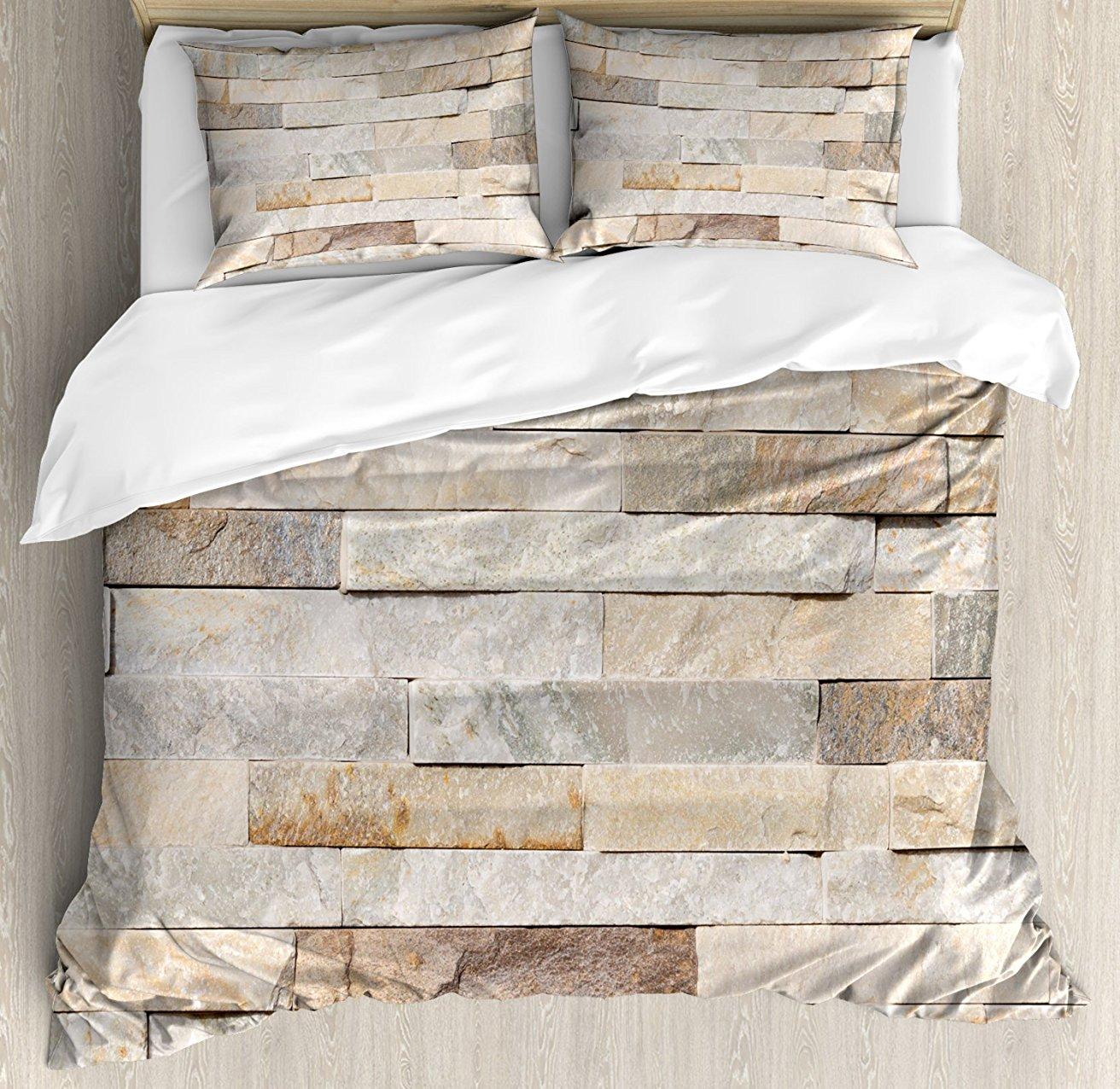 Цвета слоновой кости постельное белье, городской фоне кирпичной стены Современный и стилизованные Kitsch городской жизни поверхности печати,