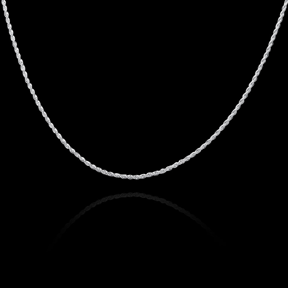 Hot Penjualan Eceran Grosir Super Shiny Perak Kalung Wanita Pria - Perhiasan fashion - Foto 3