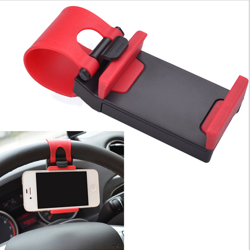 Portable Elastic Automobiles Steering Wheel Car Phone Holder for iPhone 4S 5 5S 5C Smartphone Tablet