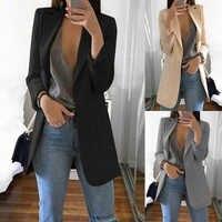 Décontracté manches longues couleur unie col rabattu manteau dame d'affaires veste costume manteau haut de taille slim femmes blazers femme 2019 W3