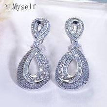 Женские серьги капельки с блестящими кристаллами 5 см