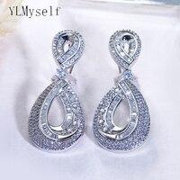 Beautiful 5cm long waterdrop earrings luxury wedding party jewelry jewellery shiny crystal women drop earring