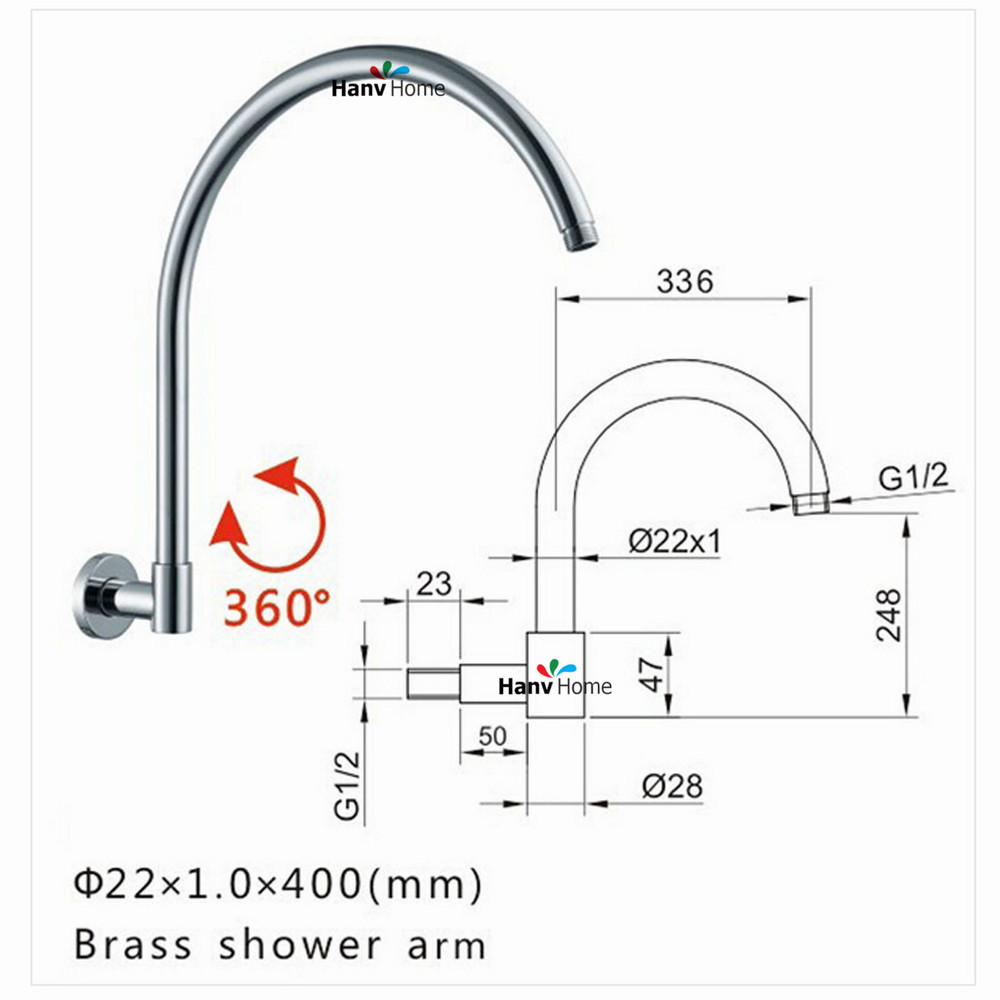 Free Shipping Brass GOOSENECK Round  Chrome Rain shower Wall Mounted Shower Arm for shower head 360 degree rotation 04-090 шарф frank q