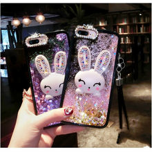 Diamond Rabbit Case For Huawei P20 PLUS Cover Liquid Mobile Phone Cases For Huawei Honor 7 7i 7C 6X V8 4A 5X Bracket Phone Case(China)