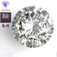 Цвет GH 9,5 мм камень Муассанит свободные синтетический бриллиант 3,1 карат для кольца