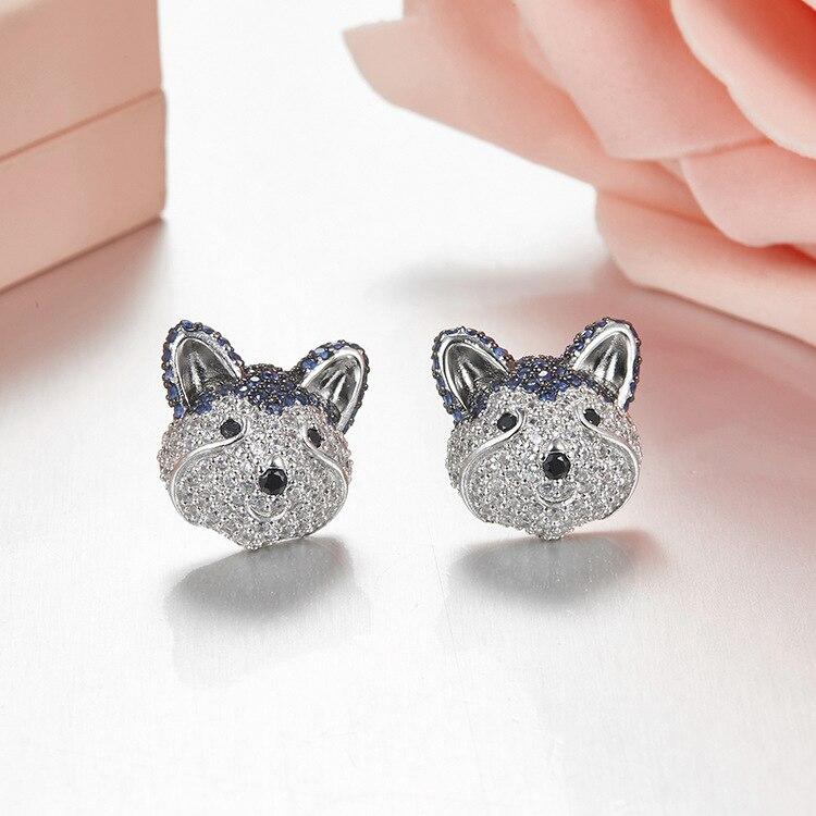 купить Fashion Animal Jewelry Husky dog Earrings Pure 925 sterling silver Zircons Adorable Puppy Cute pet earings fashion jewelry 2018 по цене 2213.32 рублей