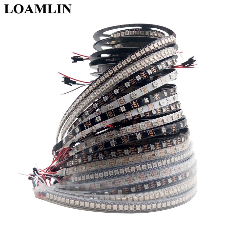 1m 2m 3m 4m 5m <font><b>WS2812B</b></font> WS2812 Led Strip,30/60/74/96/144Pixels/Leds/m Individually Addressable Smart WS2812 IC RGB Led Strip <font><b>DC5V</b></font> image
