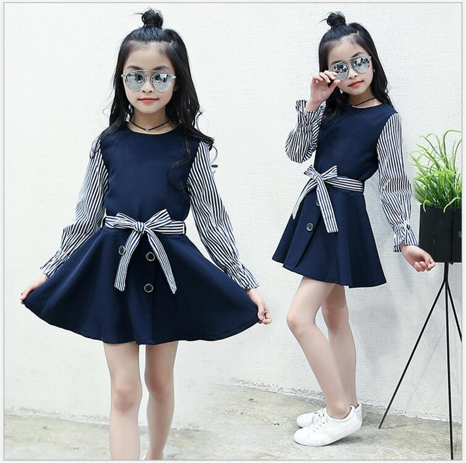 Autumn girls dress school uniform navy blue long sleeve striped autumn girls dress school uniform navy blue long sleeve striped princess wedding party dresses fashion baby girl clothes in dresses from mother kids on ombrellifo Image collections