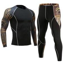 Для мужчин фитнес спортивный набор Быстросохнущий пот чехол для тренировочной боксерской груши комплект Рашгард мужская спортивная Бег Тощий классическая одежда 4XL