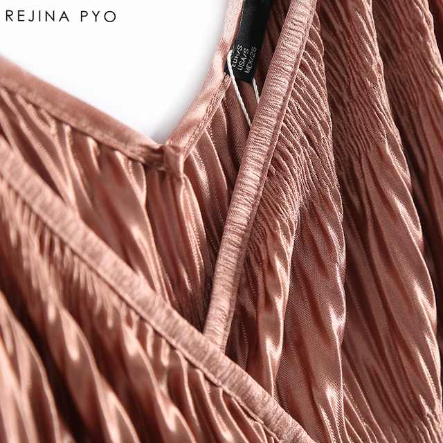 REJINAPYO Women Sexy Solid Short Camis Double V-neck Sleeveless Female Casual Pleated Tank Tops Sashes Ladies Elegant Camis
