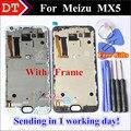 """Alta qualidade new meizu display lcd + assembléia tela de toque digitador para meizu mx5 smart phone 5.5 """"1920*1080 Preto Com Armação"""