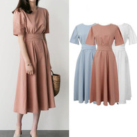 Casual Vintage Dresses Cotton linen Summer Dress Elegant short sleeve slim waist sashes a line Dress