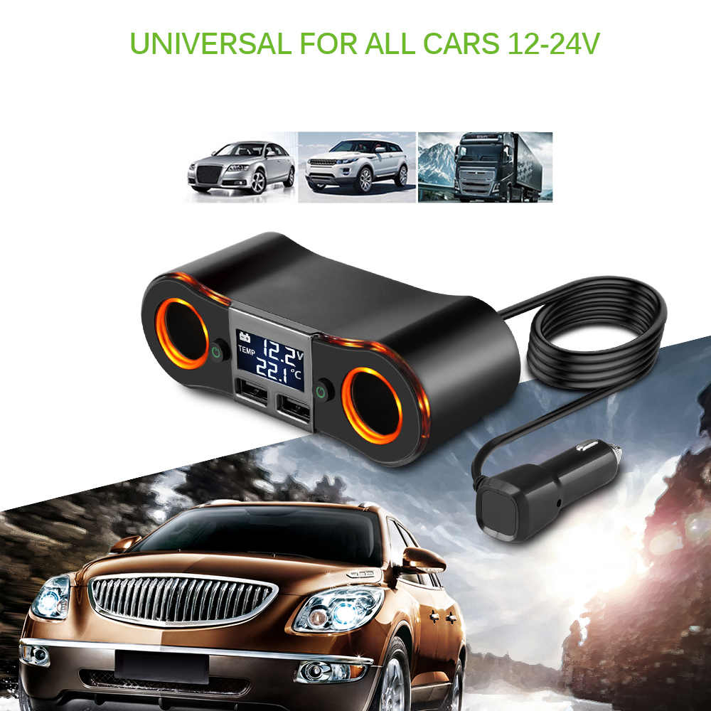 Onever Car Power Adapter Cigarette Lighter Socket Splitter Support Dual USB Charge LED Display Voltage Temperature for DVR Phone
