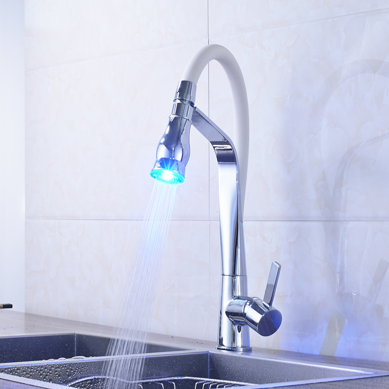 ... Fmhjfisd New Arrival Kitchen Faucet With LED Light Chrome U0026 White Water  Taps For Kitchen ...