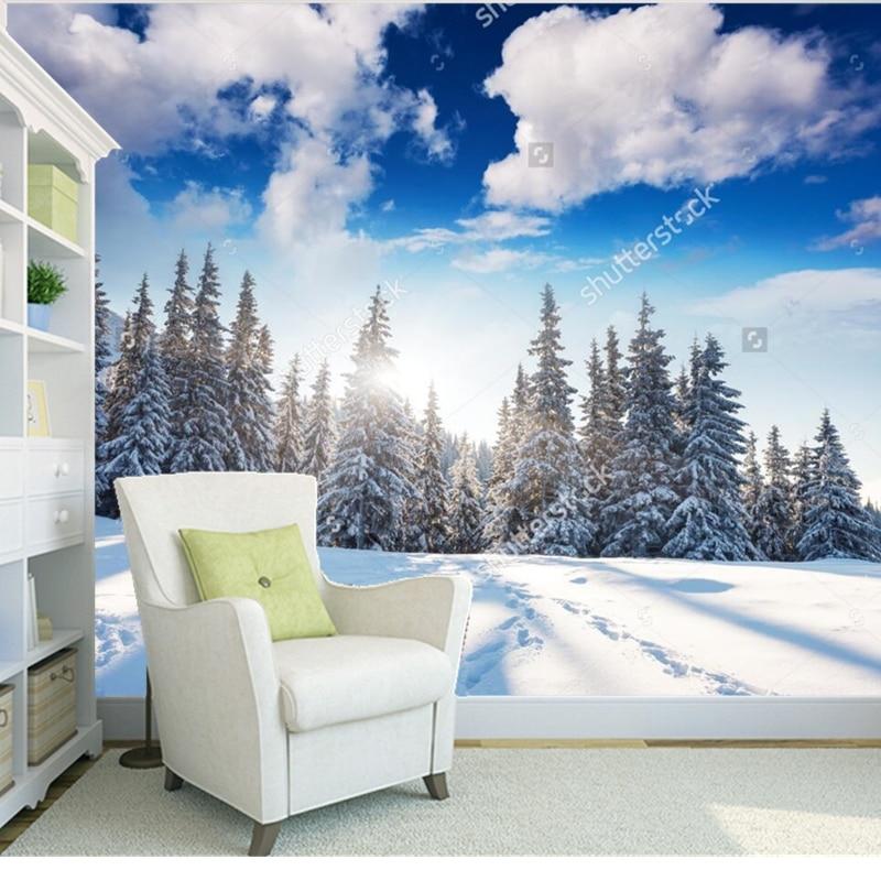 все цены на Custom natural landscape wallpaper.winter landscape,3D photo mural for living room bedroom restaurant background vinyl wallpaper
