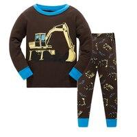Crianças Pijamas Sets, 6 jogos/lote caminhão Dos Desenhos Animados padrão camisola Crianças Pijamas de algodão meninos adorável suave pijamas roupas set 2-7a