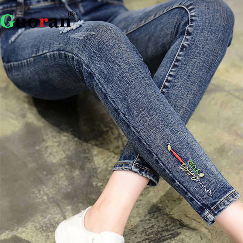 {Guoran} High Stretch Women Denim Jeans Leggings Slim Pencil Pants Plus Size Ripped Jeans Trousers skinny Femme Pantalon