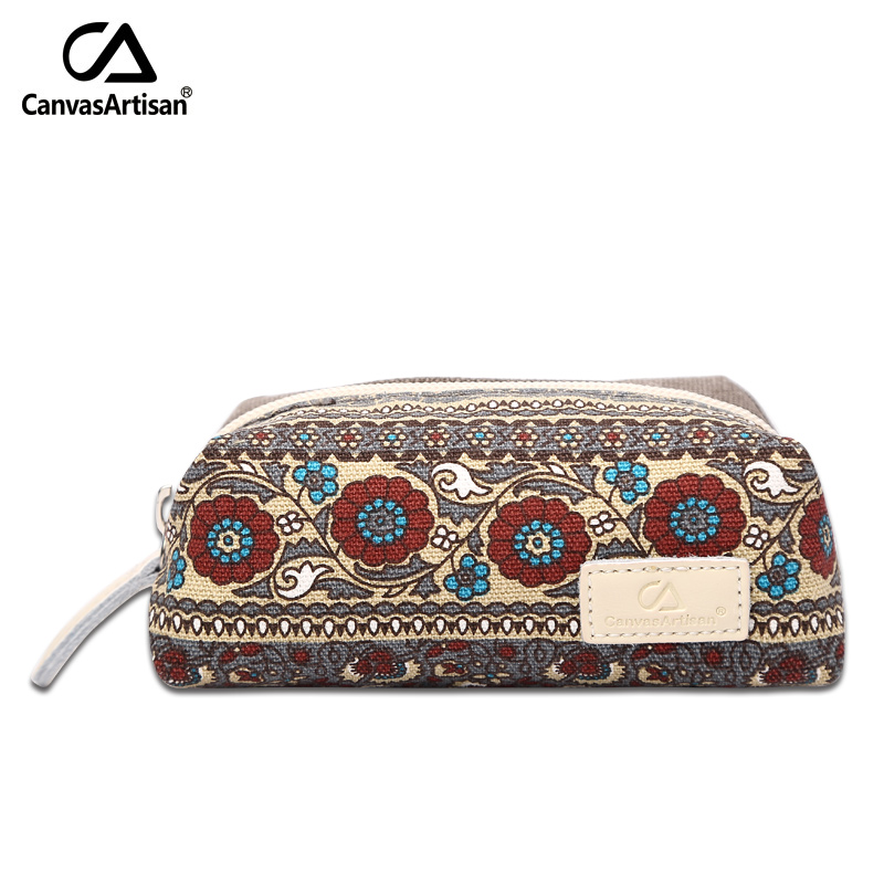 Canvasartisan women's coin change purse bag retro style floral keys cards make up small storage bag travel accessories bags