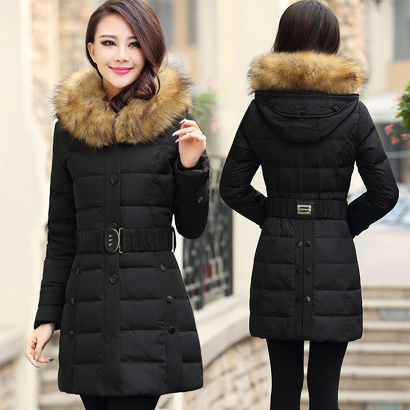 ФОТО In the elderly down jacket women in large size large Slim hair collar middle - aged women winter coat thicker coat mother loaded