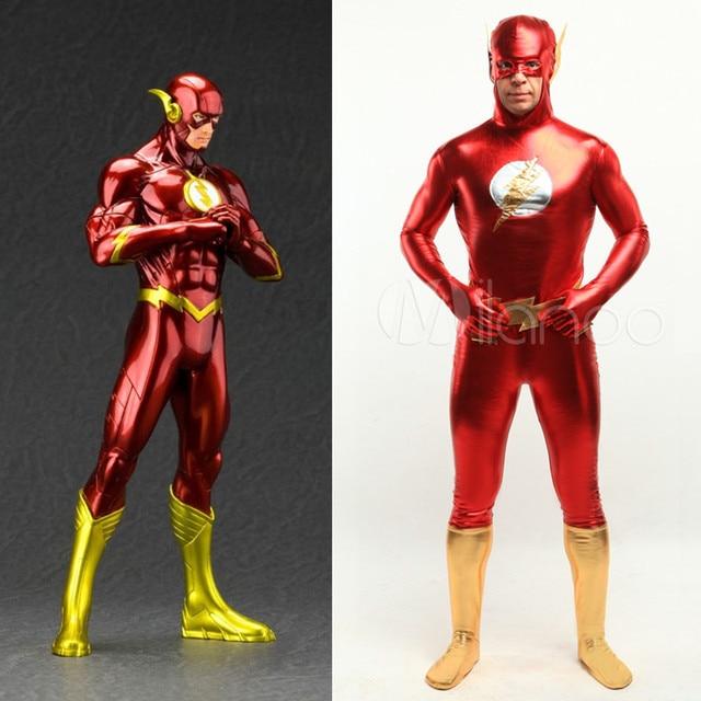 4ae791b8dfa Alta calidad DC Comics el Flash hombre disfraces de Halloween para hombres adultos  niño brillante metálico
