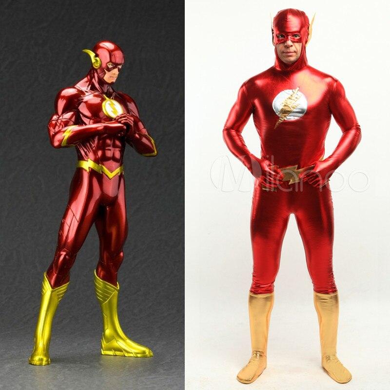 high quality dc comics the flash man halloween costumes for men adult child shiny metallic anime