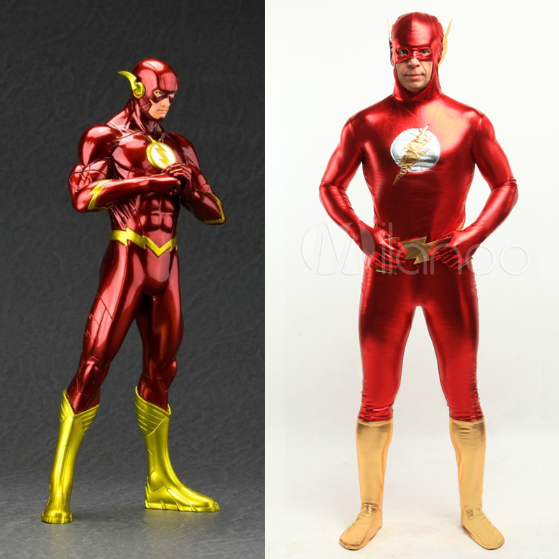 high quality dc comics the flash man halloween costumes for men adult child shiny metallic anime - High Quality Womens Halloween Costumes