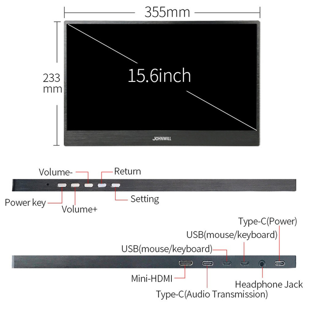 """Touch screen HD Gaming Portable Monitor 15.6"""" 2Type C(USB-C) laptop PS4 2"""
