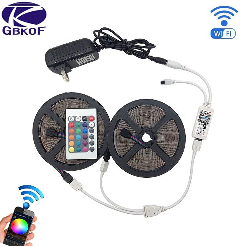 Wifi Controller 2835 RGB LED Strip light lamp 5M 10M 15M 20M IP20 neon Flexible Tape diode ribbon DC 12V adapter set string hbl led strip 2835 5m 10m rgb led strip light 15m 20m 3528 smd led ribbon flexible led tape non waterproof 12v adapter full set