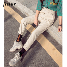 Jielur Spring High Waist Pants Women Korean Style Simple Loose Casual Streetwear Black/Apricot/White Pantalon Femme S-XXL