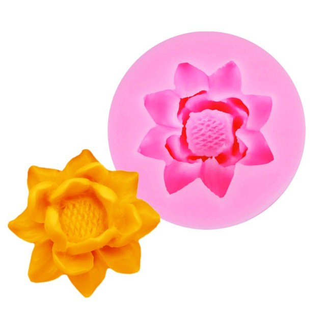 Lotus Flower Shape Silicone Cake Mold 3d Baking Mould For Candy