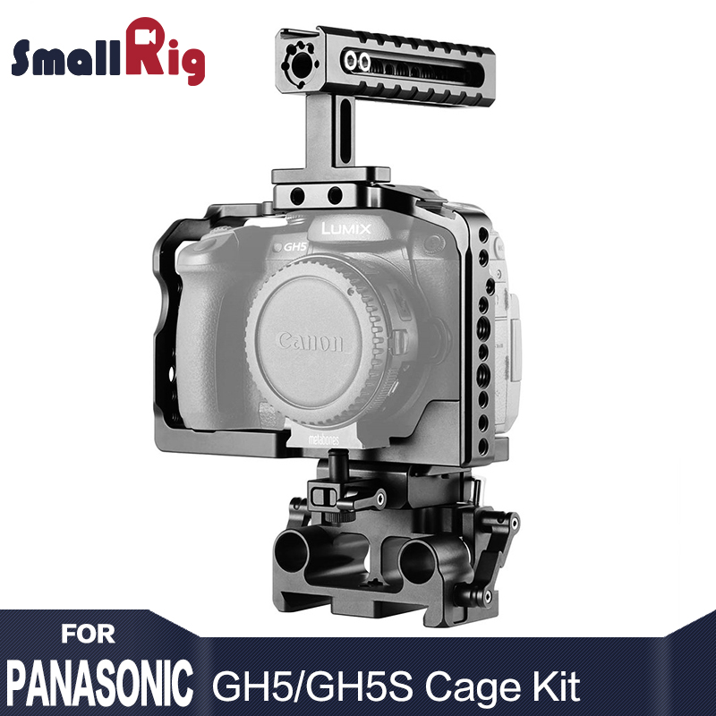 SmallRig gh5 Cage Kit for Panasonic Lumix GH5 / GH5S With 15mm Baseplate system Top Handle Grip  2051 panasonic lumix gh5
