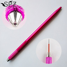 Mini Manual Microblading Tattoo Pen Round Fog Needle Holder For Permanent Makeup 3D Embroidery Eyebrow Tebori Rose Red