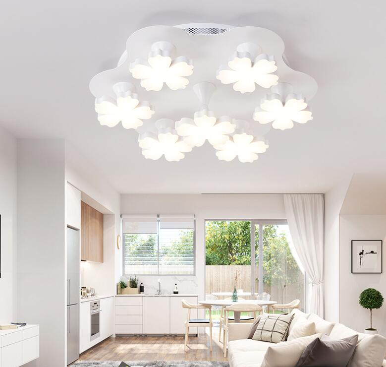 white flower Led ceiling light modern living room lights restaurants study lighting creative bedroom LED ceiling lamps ZA81041 creative star moon lampshade ceiling light 85 265v 24w led child baby room ceiling lamps foyer bedroom decoration lights