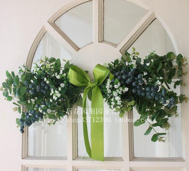 Wreath Door Trim Wall Hanging Door Lacquered Mirror Before The Silk Flower  Wedding Simulation Flower Set