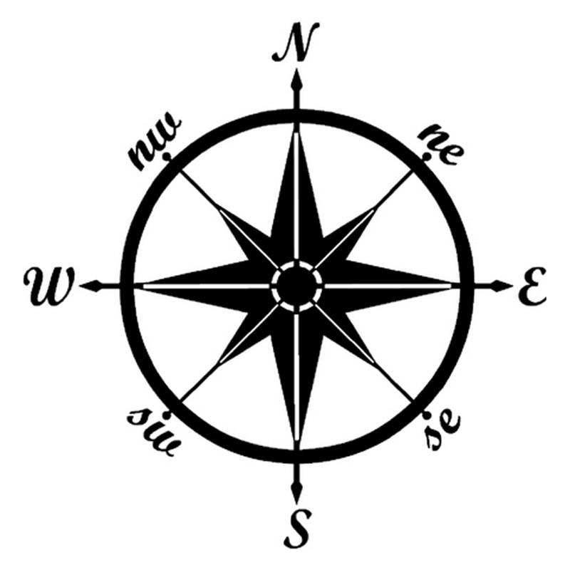 13cm*13cm Compass Silhouette Art Creative Stickers
