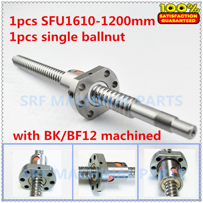1pcs Rolled Ballscrew 16mm Dia SFU1610 Ball lead screw L=1200mm +1pcs SFU1610 ball nut with BK/BF12 end machined for CNC part 16mm dia rolled ballscrew rm1605 l 350mm c7 1pcs double ball nut without end machined