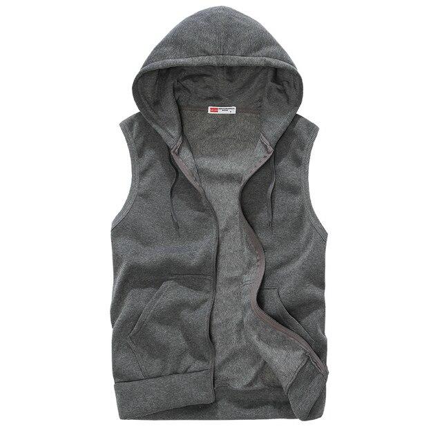 New 2016 Summer Brand Mens Male Slim Fit Hooded Sweatshirt Casual Sleeveless Jacket Vest Outwear Blue/Gray Size S-XXL