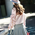 2017 Mulheres Primavera Rosa Preto Sólido Tee Tops de Manga Longa Ruffles O Pescoço Bonito e Sexy T-shirt Da Forma Elegante Estilo de Design 2225