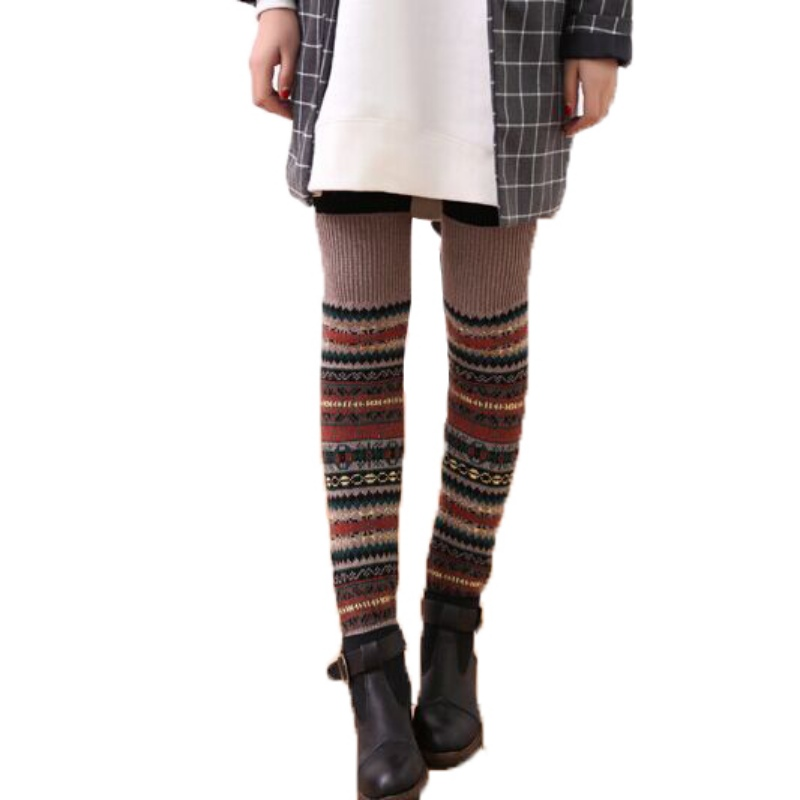 WEIXINBUY Women Winter Elegant Over Knee Long  Knit cover Patchwork Colorful Ladies Crochet Vintage Leg Warmers Legging Chic HTB1nIjmgBDH8KJjSszcq6zDTFXas