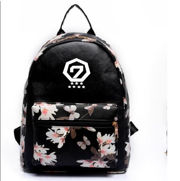 k-pop new Leisure pu backpack GOT7 Jackson The same paragraph Girls Mini models Korean version College Wind school bag Handbag